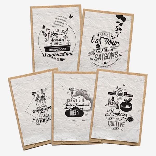 Lot de 5 cartes de pensées positives à planter