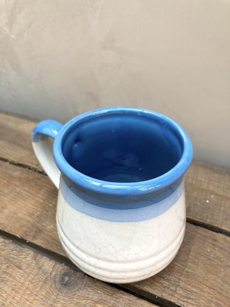 Petit pot en céramique beige et bleu