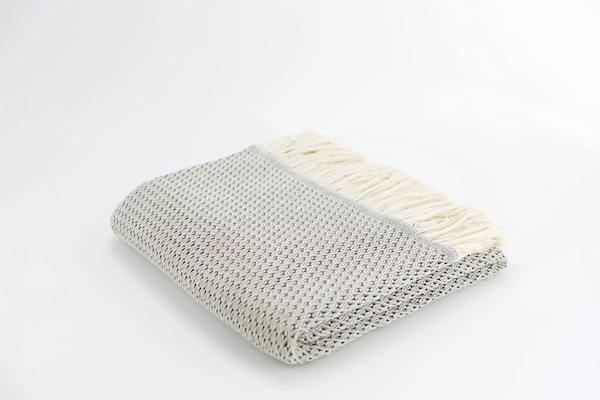 Plaid en laine et coton