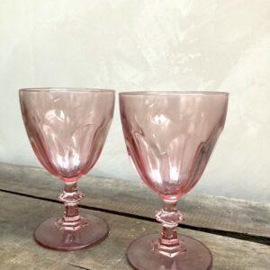 2 Verres à pied roses
