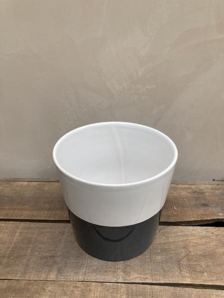 Cache pot blanc et gris