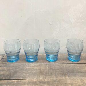 Lot de 4 verres bleus