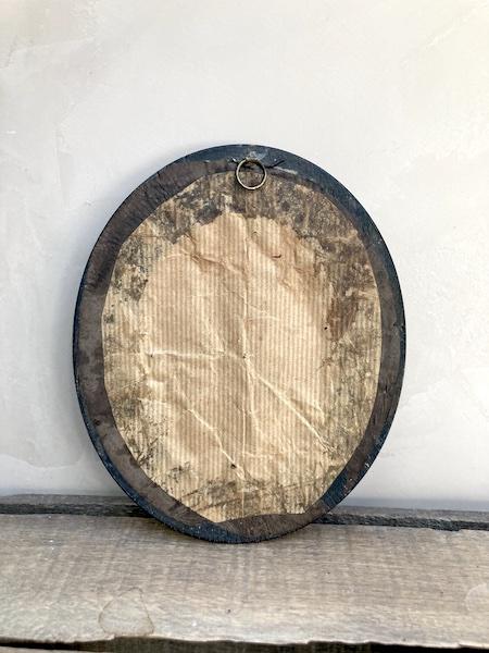 Ancien cadre oval bois noirci et laiton