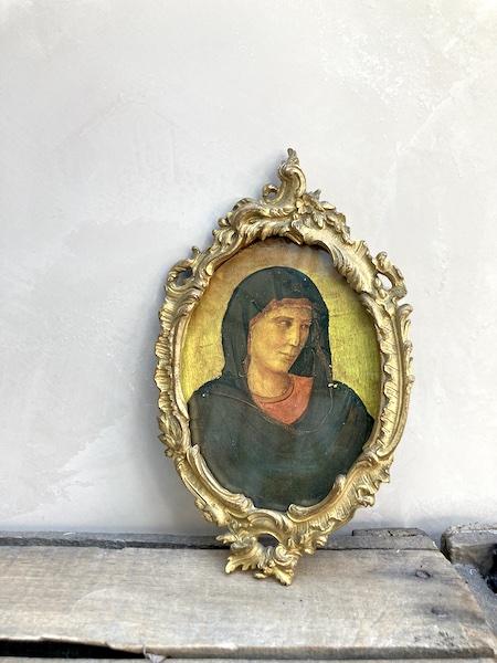 Cadre baroque oval doré