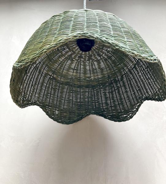 Suspension en osier vert Jade