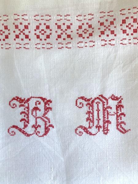 Torchon ancien Monogramme BM