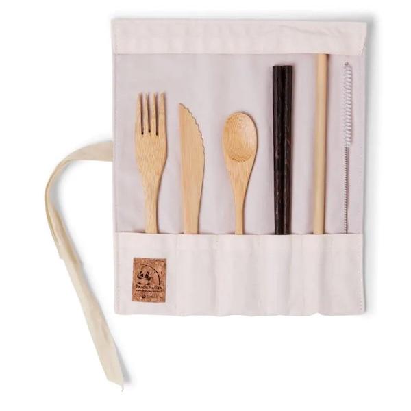 Set de Couverts en Bambou avec Baguettes Ecru