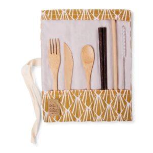 Set de Couverts en Bambou avec Baguettes Moutarde