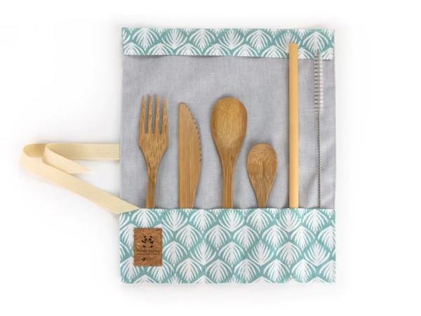 Set de Couverts en Bambou avec Petite Cuillère Turquoise