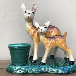 Biche et faon avec mini vase Vallauris