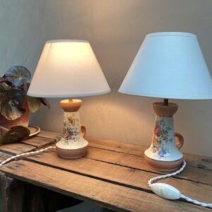 Duo de lampes de tables en porcelaine de Couleuvre