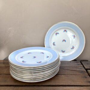Lot de 12 assiettes plates en céramique de Saint-Amand-les-Eaux