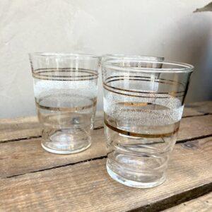 Lot de 3 verres granités Blancs liseré doré