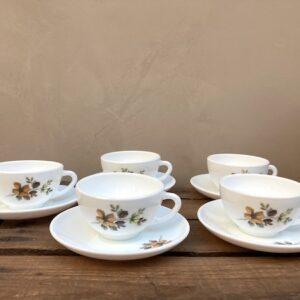 Lot de 5 tasses et sous-tasses Arcopal