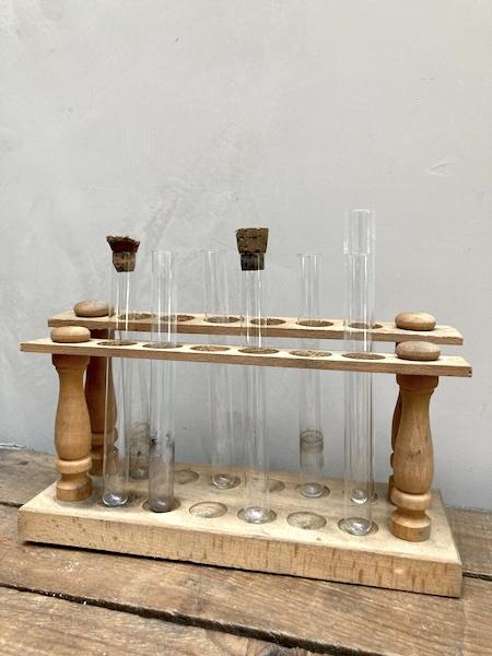 Support de tubes à essais en bois