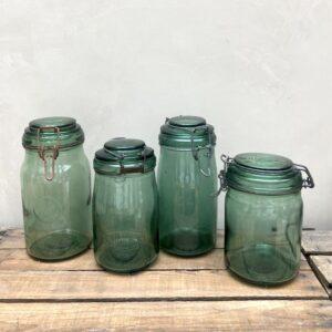 Bocaux Anciens en verre vert, Solidex, Durfor, L'idéale...