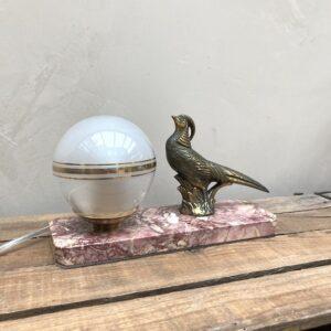 Lampe de chevet vintage - faisan en régule sur socle en marbre